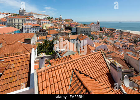 View over the red rooftops of Lisbon, historic center, Lisbon, Lisbon District, Portugal - Stock Photo