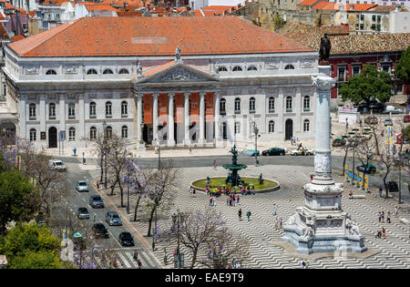 Teatro Nacional Dona Maria II, National Theatre on Praça Rossio square, Baixa, Lisbon, Lisbon District, Portugal - Stock Photo