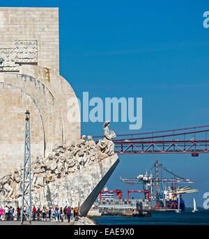 Padrão dos Descobrimentos, Monument to the Discoveries, Ponte 25 de Abril, 25th of April Bridge, Belém, Lisbon - Stock Photo