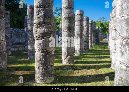 The columns at the Temple of the Thousand Warriors at Chichen Itza, ancient Mayan ruins site, Mexico - Stock Photo