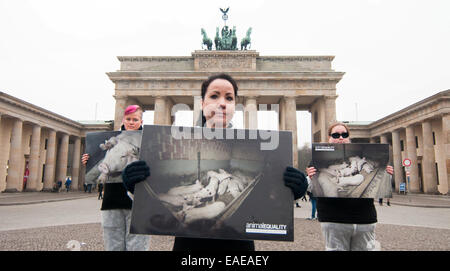 Berlin, Germany. 13th Nov, 2014. Activists of the animal rights group 'Animal Equality' demonstrate against the - Stock Photo