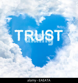 trust word nature on blue sky inside love heart cloud form - Stock Photo