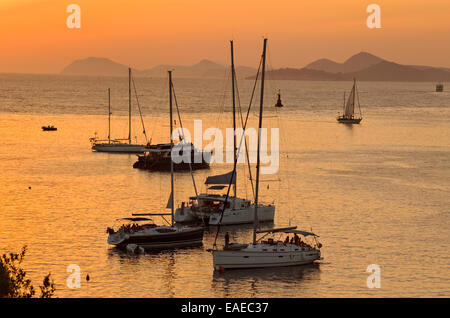Yachts anchored in Cavtat, south of Dubrovnik, Croatia. A port of entry for private boats arriving or departing - Stock Photo