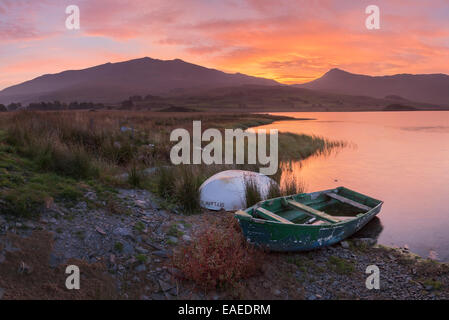 The sun rises behind mount Snowdon creating a beautiful orange sky which is reflected in the water of Llyn y Gader. - Stock Photo