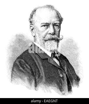 Julius Wolff, 1834 - 1910, German poet and writer, Portait von Julius Wolff,  1834  - 1910, ein deutscher Dichter - Stock Photo