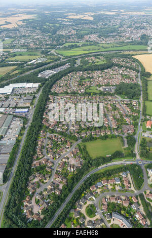 An aerial view of a residential area of Bury St Edmunds, Suffolk. - Stock Photo