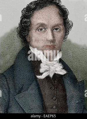 Casimir Delavigne (1793-1843). French poet and dramatist. Colored engraving. - Stock Photo
