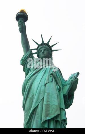 Freiheitsstatue Statue of Liberty New York Manhatten USA Architektur Wahrzeichen Beruehmt Amerika Attraktion Crown - Stock Photo