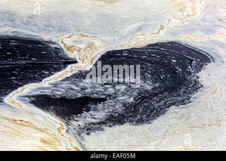The foam on the river forming decorative ornaments, abstract - Stock Photo