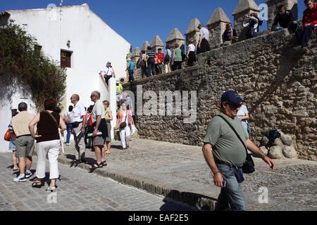 Tourists visiting Vejer de la Frontera Cadiz Andalusia Spain. Vejer de la Frontera is one of the White Village (Pueblos - Stock Photo
