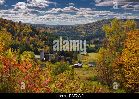 Hillside Acres farm in valley at Barnet Center Vermont USA with trees with colorful Fall foliage - Stock Photo