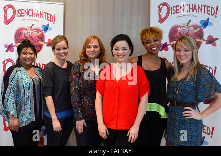 New York, USA. 13th Nov, 2014. Actresses pose for photos during a open rehearsal of Disenchanted in New York, the - Stock Photo