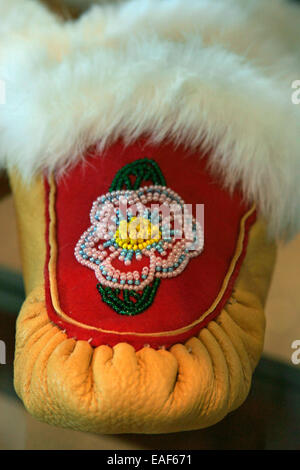 Native American Indian beading moccasin - Stock Photo