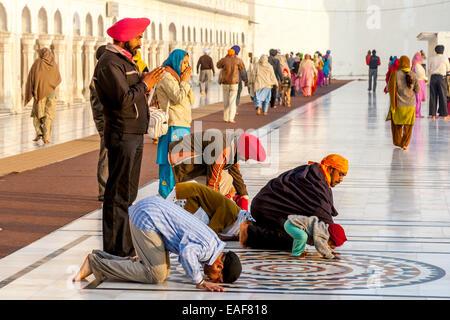 Sikhs Praying At The Golden Temple of Amritsar, Punjab, India - Stock Photo