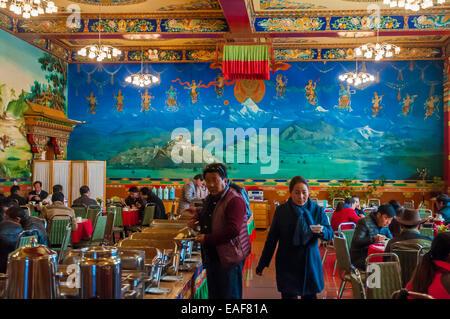 Dining room at the Gyantse Hotel at Gyantse, Tibet, China - Stock Photo