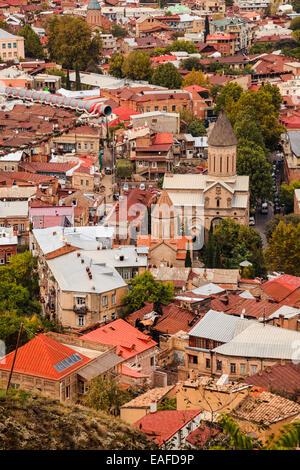 View of Tbilisi, the capital city of Georgia - Stock Photo