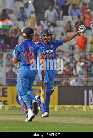 Kolkata, India. 13th Nov, 2014. India Cricket Player Rohit Sharma in action during between India and Srilanka 4th - Stock Photo