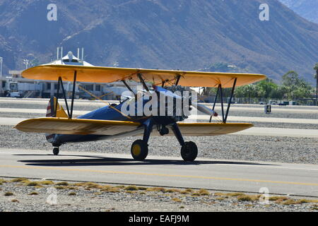 A Boeing Stearman at Palm Springs Airport, California. - Stock Photo