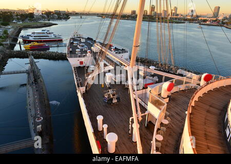 The Queen Mary at her birth at Los Angeles Harbour - Stock Photo