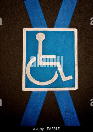 Pictogram handicapped parking on pavement. France. Europe. - Stock Photo