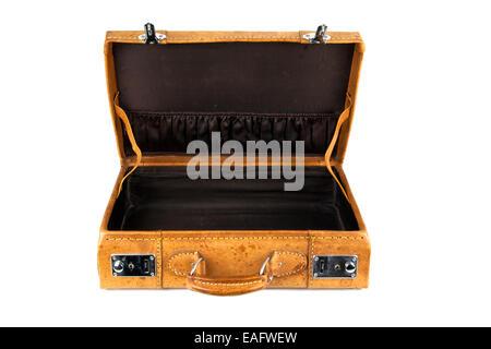 Koffer Retro braun Leder Lederkoffer klein kleiner Schnalle Schnallen silber silbern silberne Henkel alt antik antiker - Stock Photo