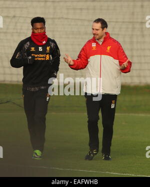 Liverpool football club in training at their Melwood training ground. Steven Gerrard and Daniel Sturridge returned - Stock Photo
