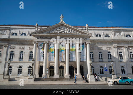 National Theatre D. Maria II, Rossio Square, Lisbon, Portugal - Stock Photo