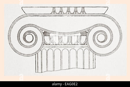 Detail of the volutes of the capital on an Ionic order column at the Propylaea, or entrance, to the Acropolis in - Stock Photo