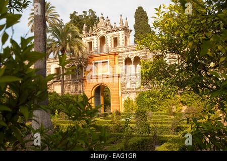 Gardens of the Alcazar palaces, Seville, Spain - Stock Photo