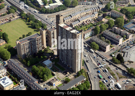 aerial view of Balfron Tower in Poplar, East London - Stock Photo