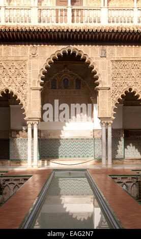 Palace of Pedro First, historic moorish palace architecture in the Alcazar, Seville, Spain - Stock Photo