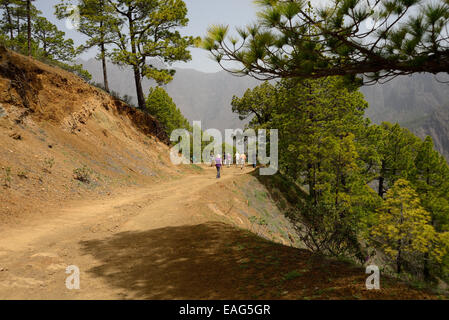 Tourists walking around the rim of the Caldera de Taburiente on the island of La Palma. - Stock Photo