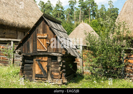 A hen in a home chicken coop in the uk stock photo for Old farm chicken coops