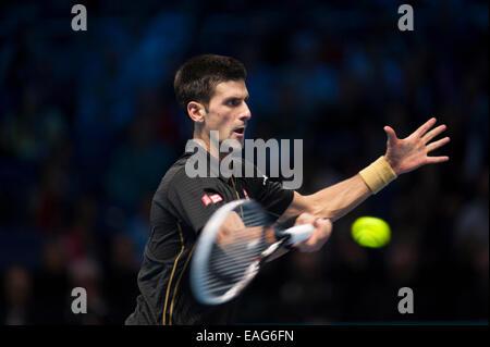O2 arena, London, UK. 14th November, 2014. Barclays ATP round robin match, singles players Novak DJOKOVIC (SRB) - Stock Photo