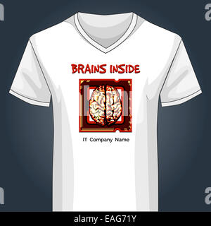 V neck shirt template with human brain inside main PC unit - Stock Photo