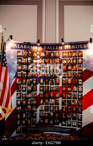 Photo wall dedicated to Alabama Fallen Heroes inside the State Capitol building - Stock Photo