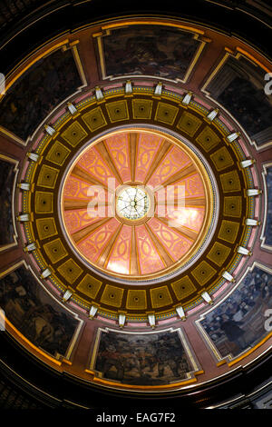 View of the dome and murals inside the Alabama State Capitol building in Montgomery - Stock Photo
