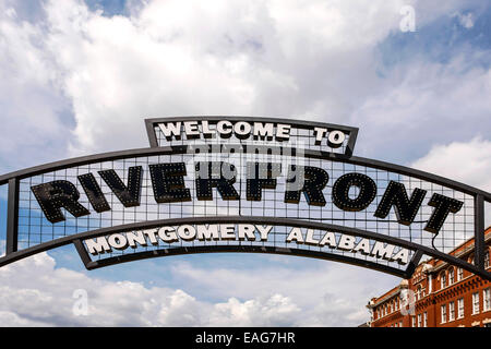 Welcome To Riverfront Montgomery Alabama overhead sign - Stock Photo