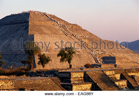 Mexico, archeological site of Teotihuacan, Pyramid of the Sun - Stock Photo