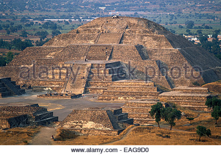 Mexico, archeological site of Teotihuacan, Pyramid of the Moon - Stock Photo