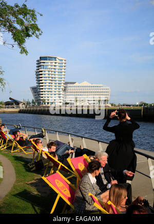 Marco Polo Tower at river Elbe, Hafencity, Hamburg, Germany, Europe - Stock Photo