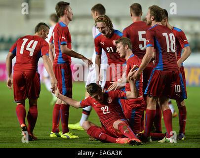 Prague, Czech Republic. 14th Nov, 2014. Friendly soccer match U21 Czech Republic vs Denmark in Prague, Czech Republic, - Stock Photo