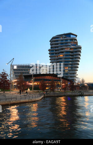 hafencity grasbrookhafen with marco polo tower and unilever haus stock photo royalty free. Black Bedroom Furniture Sets. Home Design Ideas