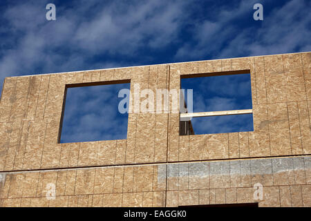 typical timber framed house construction with sheet panels Saskatchewan Canada - Stock Photo