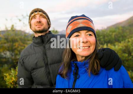 Friendship,Camper,Toque,Tundra,Arm Around - Stock Photo