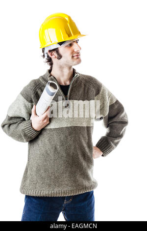 an handsome architect or engineer wearing a hard hat and carrying some construction plans. isolated on white - Stock Photo