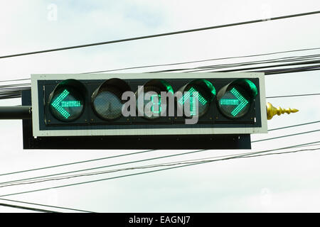 traffic light with countdown system at junction in Thailand - Stock Photo