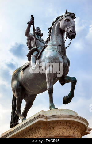 Plaza Mayor Built in the 1617 Famous Square Cityscape Madrid Spain. King Philip III Equestrian Statue created in - Stock Photo