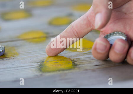 pointing draughts or checkers board game - Stock Photo