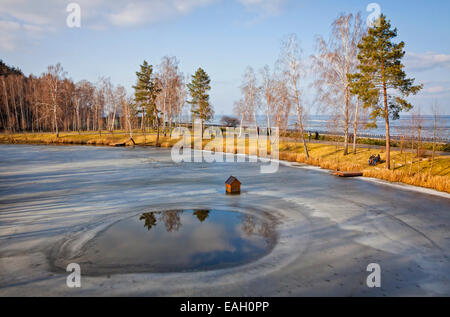 Winter view of lakes and parks near Kyiv Sea (Kyiv Reservoir), Ukraine - Stock Photo
